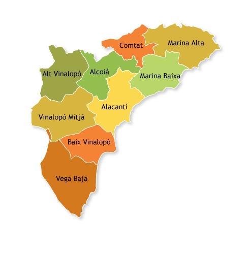 Mapa de comarcas de la provincia de Alicante para elegir Certificado Energetico