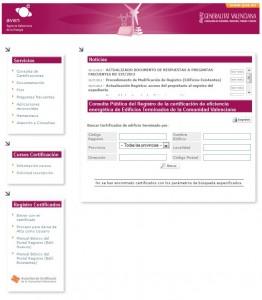 Web registro certificado energetico AVEN