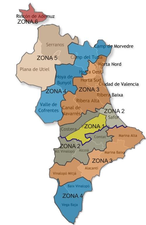 Zonas tarifas certificado Valencia-Alicante.