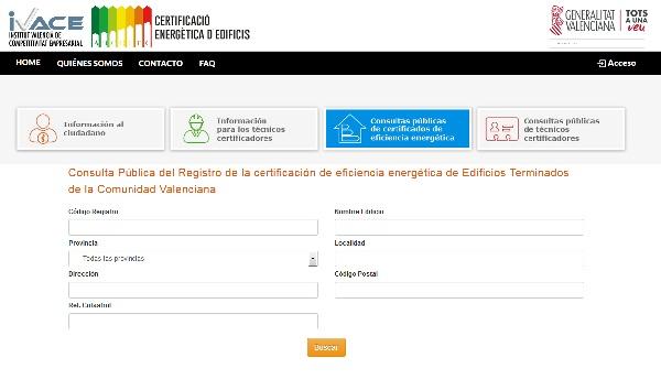 web registro Certificado Energetico