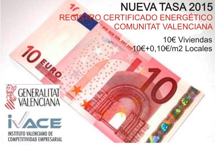 Tasas de Registro Certificado Energético en la Comunidad Valenciana