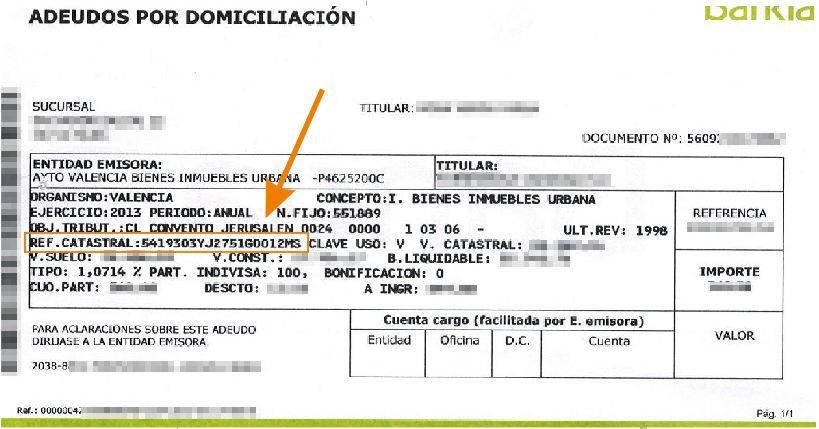 ejemplo de recibo bancario pago IBI señalando la referencia catastral