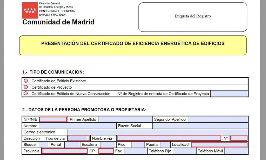 Descargar impreso solicitud registro certificado energetico Comunidad de Madrid
