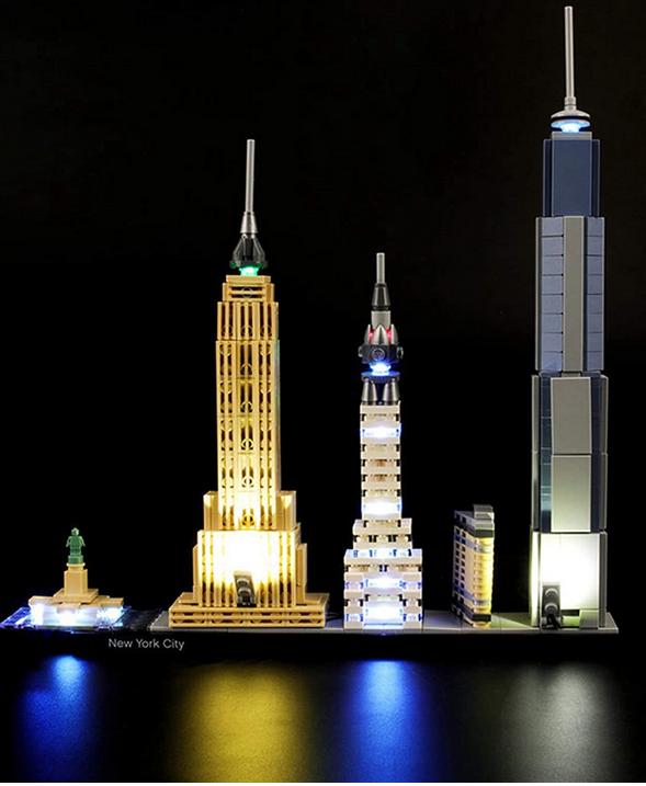 Juego luces para modelo construccion bloques Lego architecture New York